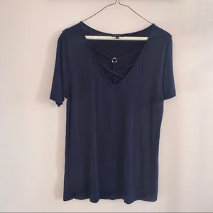 Sexy Lace Up Short Sleeve Navy Blue Top